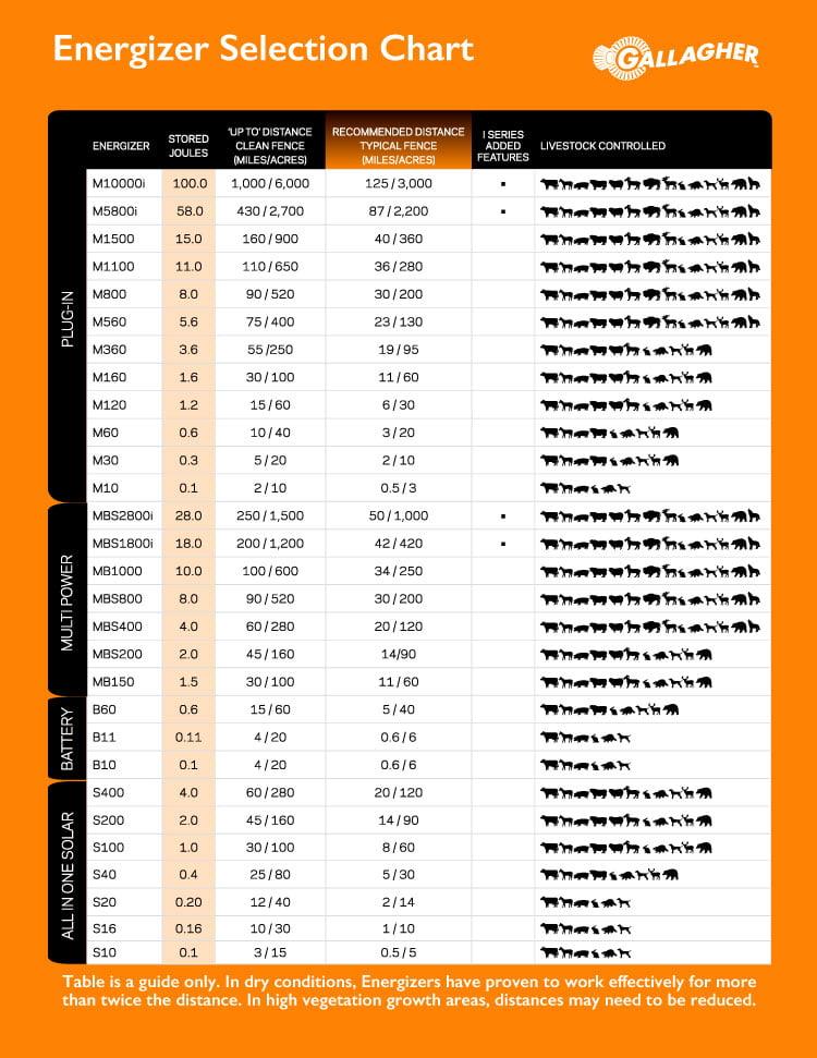 Energizer Size Chart